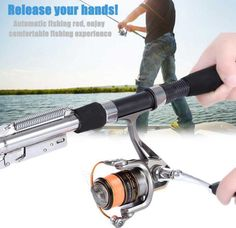 1.8m 2.1m Fishing Automatic Rod Sea River Lake Stainless Steel Automatic Fishing Rod Fish Pole Hard with Storage Bag for Fishing #Affiliate
