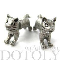 $12.50 3D Fake Gauge Cute Kitty Cat Animal Stud Earrings in Silver