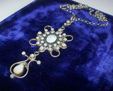 RARE, VERY LARGE, ART NOUVEAU,JUGENDSTIL, SILVER PENDANT WITH MOONSTONES/CHAIN