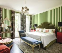 Mixing patterns makes this room come alive (Summer Thornton Design) - The Fresh, Colorful Interiors of Summer Thornton - Interior Design, Bedroom Colors, Eclectic Bedroom, Simple Bedroom Design, Simple Bedroom, Chicago Interior Design, Bedroom Red, Home Decor, Luxurious Bedrooms
