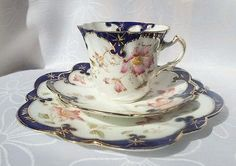 Antique Shelley Wileman Blue Poppy Snowdrop Tea cup Trio saucer side plate