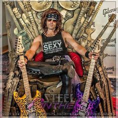 Steel Panther Steel Panther, 80s Rock Bands, 80s Hair Bands, Russ Parrish, Signature Guitar, Rocker Chick, Famous Musicians, Music Like, Guitar Design