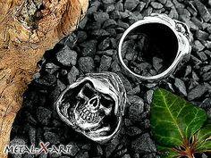 925 Sterling Silber, Schwerer Totenkopf/Skull - Ring, Schädel, Grim Reaper,Biker