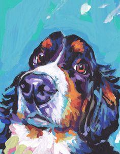 Bernese Mountain Dog print of modern pop art by BentNotBroken