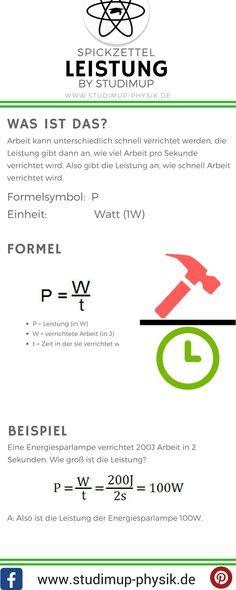 Physik Spickzettel zur Leistung, von Studimup. Einfach Physik lernen mit Formeln zu allen wichtigen Themen, wie Mechanik.
