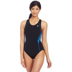 ec8e7a59324bd1 TYR Sport Women's Alliance Durafast Splice Maxback Swimsuit One-piece  athletic swimsuit in dual tones featuring Maxback racerback silhouette with  back ...