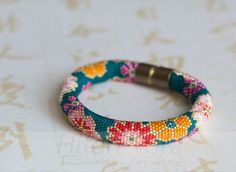 Beaded crochet bracelet  Floral print  Asian style