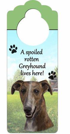 Greyhound Brown/White wooden doorknob hanger
