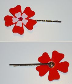DIY haarspeldje (speldje uit Banier) en bloemetje met blinkertje uit knutselvoorraad + lijmpistool was ook aanwezig :)