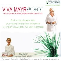 Book an appointment with Dr. Christine Stossier from Viva Mayr on 1st and 2nd of April 2014, please call 04 335 1200.