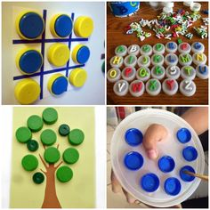 Jogos e Brincadeiras com Tampinhas Diy Home Crafts, Crafts For Kids, Arts And Crafts, Toddler Play, Baby Play, Tapas, Kids Education, Craft Activities, Soda Tab Crafts