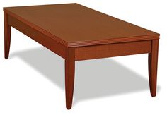 "Coffee Table SKU: ALPD102 $480.00  Dimensions: 49""W x 24""D x 16""H   Finishes: Cherry, Mahogany http://www.officesourcefurniture.com/products/display/reception_room-and-lounge/OfficeSource_by_Rudnick/Contemporary_Reception_Collection/"