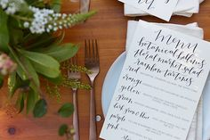 We loved seeing our friend Courtney of PoppyJack Shop's calligraphy adorning the menus for lunch.