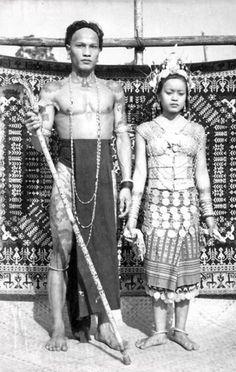 1950s Borneo Malaysia, Dayak Couple