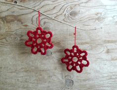 Christmas crochet ornament - color: red - hanging christmas decor - free shipping