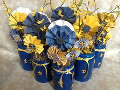 Blue and Gold Banquet Centerpiece - Lollies In A Can from JenkinsKidFarm.com