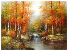 bob ross painting at DuckDuckGo Pinturas Bob Ross, The Joy Of Painting, Autumn Painting, Easy Landscape Paintings, Landscape Art, Bob Ross Art, Bob Ross Paintings, Image Nature, Autumn Scenes