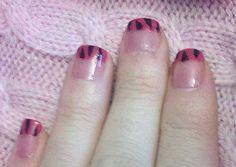 Pink & Black Zebra Nails