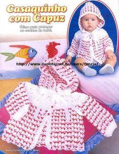 Baby Hoodie Sweater Source by Hoodies Pull Crochet, Crochet Bebe, Crochet Woman, Crochet For Kids, Crochet Hats, Baby Knitting Patterns, Baby Patterns, Sweater Set, Boleros