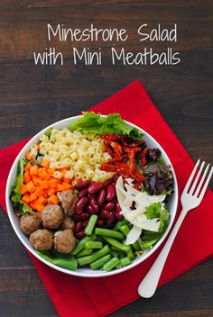 Mini Meatball Minestrone Salad - All the elements of classic minestrone soup, in a colorful and healthful salad!   foxeslovelemons.com