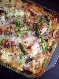 Asparagus, Ham, and Mushroom Strata.   Prepare the night before so you can focus on getting your coffee in the morning!
