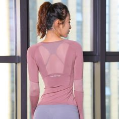 c70f9bf8823d3 Women s Pink Mesh Seamless Long Sleeve Crop Top Yoga Shirts with Thumb Hole  Running Fitness Shirts