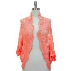 Peach Pink Crochet Open Knit Scalloped Edge Bolero Shrug Sweater $24.99