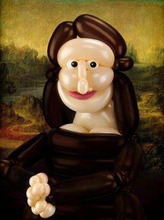 Balloon-art Mona Lisa