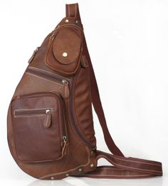 Dark Brown Genuine Leather Sling Backpack Crossbody Shoulder Bag Adjustable Capacity 30733 $96.00