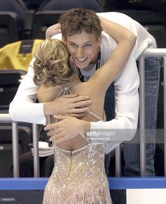 Jennifer Kirk receives a hug after competition Thursday, January 7, 2004 in Short Program at the 2004 State Farm U. S. Figure Skating Championships at Philips Arena, Atlanta, Georgia.