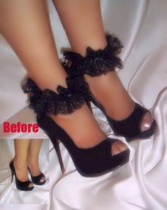 Black Lace Ankle Glams Anklets Ankle Bracelets by DesignsByLoure, $25.00