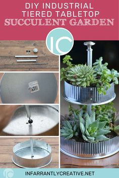 Succulents are probably the easiest plant to keep alive so for those of you who have a black thumb this succulent garden project is for you. I love the greenery paired with the industrial metal tubes and end caps used in this project. All these items can be found at any hardware store. Diy House Projects, Diy Wood Projects, Garden Projects, Easy Diy Crafts, Fun Crafts, Decorating Your Home, Diy Home Decor, Diy Ideas, Decor Ideas