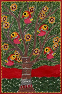 Signed India Madhubani Folk Art Painting in Green and Red - Tree of Life II | NOVICA