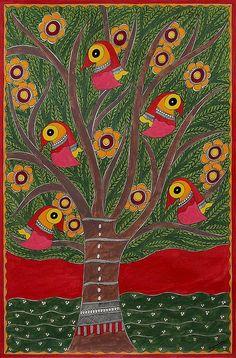 Signed India Madhubani Folk Art Painting in Green and Red - Tree of Life II | NOVICA