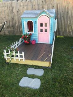 Playhouse DIY. Painted, add a deck and walkway. I would put my kids size Muskoka chairs on deck for the little ones too. So cute!