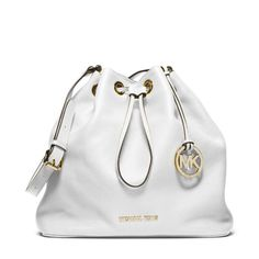 MICHAEL Michael Kors Jules Large Drawstring Shoulder Bag White