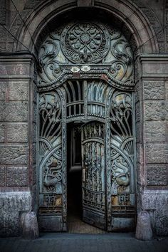 Ornate gate on Boulevard Revolutiei,Arad,Romania Architecture Details, Project Ideas, Gate, Lion Sculpture, Museum, In This Moment, Book, Metal, Building