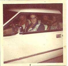 Elvis Driving his Car in his Blue /White Bird Jumpsuit circa 1975.