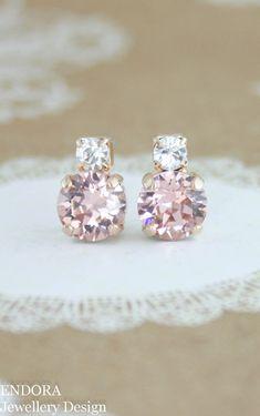 Blush earringsblush bridesmaid earringspetite by EndoraJewellery