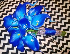 Royal Blue Calla Lily Bouquet Blue Calla Lily by SilkFlowersByJean, $45.00