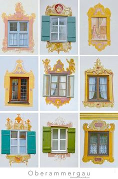 The Lüftlmalerei-Adorned Windows of Oberammergau, Germany – Travels with Tricia Wooden Architecture, Murals Street Art, Outdoor Paint, Hand Painted Furniture, Ceiling Beams, House Painting, Wall Murals, Germany, Ramen