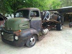 48 Ford COE car hauler..