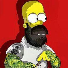 Homer Simpson with a beard Punk edit Homer Simpson, Cartoon Kunst, Cartoon Art, The Simpsons, Sketch Manga, Dope Art, Barber Shop, Caricature, Street Art