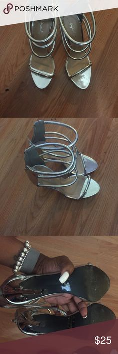 Silver club shoes open toe Silver open toe Shoes Sandals