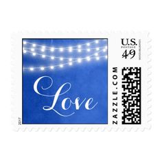 Summer String Lights Wedding Love Postage