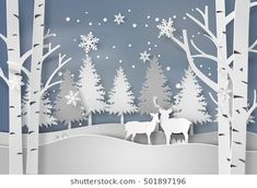 Deer in forest with snow in christmas and winter season,paper art and digital craft style. Diy Christmas Paper Decorations, Winter Wonderland Decorations, Winter Wonderland Christmas, 3d Christmas, Office Christmas, Merry Christmas And Happy New Year, Merry Xmas, Winter Diy, Winter Snow