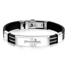 Mens Stainless Steel Rubber Sideways Cross ID Bracelet 8in