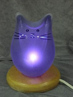 Blue Cat Lamp by GlassCatsStudios on Etsy, $116.00