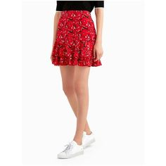 Grey By Jason Wu Printed Mini Skirt (£290) ❤ liked on Polyvore featuring skirts, mini skirts, cadmium red multi, short, short floral skirt, short red skirt, white floral skirt, red floral skirt and short skirts