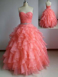 Beautiful Coral Ball Gown Sweetheart Prom Dresses with Beadings, Coral Prom Dresses, Prom Dress 2015, Prom Gown